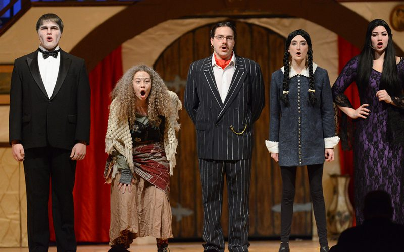 Five cast members from the spring musical, The Addams Family
