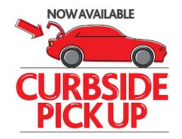 A red car with its trunk open with text saying Now Available Curbside Pick Up