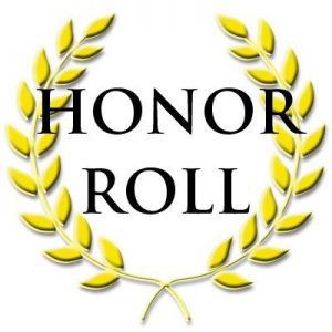 Gold leafs in a circle with the words Honor Roll in the center
