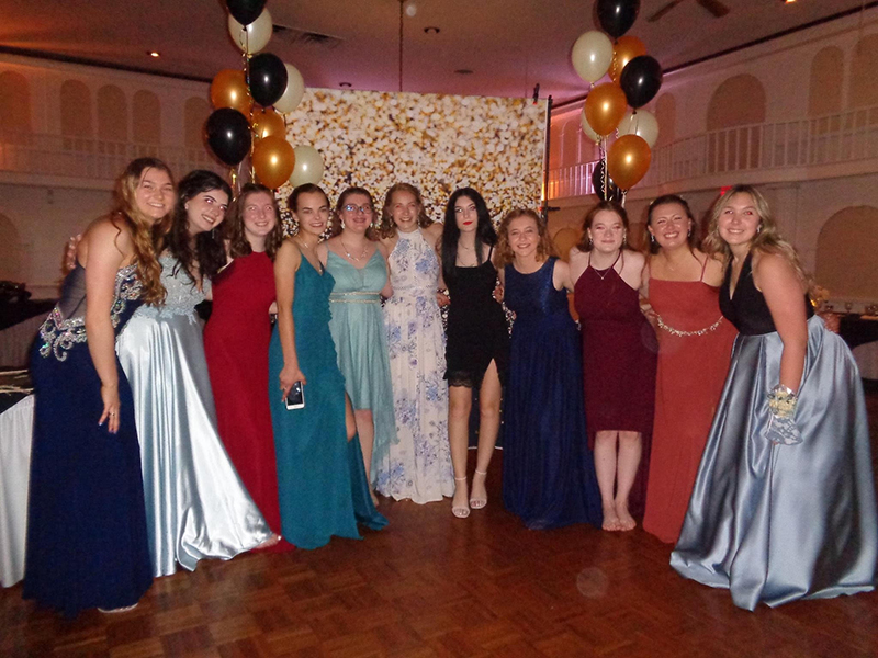 A group of 11 high school girls, all wearing very dressy gowns and dresses, stand in a semi-circle.